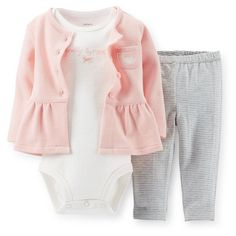 Carters 3 Months French Terry Cardigan Bodysuit Pants Set Baby Girl Clothes Pink #Carters #Everyday