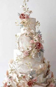 pretty wedding cake designs painted wedding cake unique wedding cakes pretty wedding cake modern wedding cake designs we Pretty Wedding Cakes, Floral Wedding Cakes, Amazing Wedding Cakes, Elegant Wedding Cakes, Floral Cake, Wedding Cake Designs, Unique Weddings, Blush Weddings, White Weddings