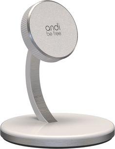 Elegant drahtlos Laden. Der andi desktop charger ist ein magnetischer Handyhalter für Samsung und Apple Smartphones.
