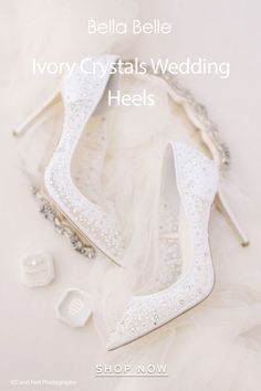 Wedding shoes that are pretty and comfortable are possible with Bella Belle Shoes. Known for our collection of bridal shoes, we offer a range of handmade shoes from lace wedding shoes, embellished shoes, crystal wedding shoes, bohemian wedding shoes, wedding shoe flats, wedding shoes low heel, to block heel wedding shoes and t strap wedding shoes. Wedding Heels, Ivory Wedding, Designer Wedding Shoes, Glass Slipper, 4 Inch Heels, Low Heels, Slippers, Sequins, Studded Heels