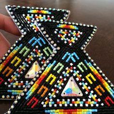 Upcoming Project :) #beadworkbyceline #beadwork #nativemade #nativebling #rainbow #braidties #justforshow