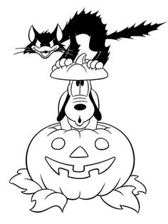Halloween Mickey Mouse Pluto with Black Cat Coloring Pages 550x732 Picture