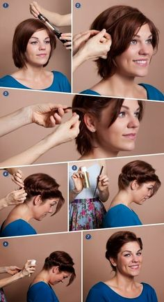 Quick romantic hairstyle for short hair #Hairstyles_For_Women