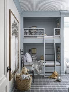 Boys Bunk Room - Design photos, ideas and inspiration. Amazing gallery of interior design and decorating ideas of Boys Bunk Room in bedrooms, boy's rooms by elite interior designers. Bunk Beds Built In, Bunk Beds With Stairs, Kids Bunk Beds, Build In Bunk Beds, Bunk Beds Small Room, Kids Interior, Interior Design, Brown Interior, Interior Decorating