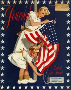 1942 Ladie's Home Journal Vintage Magazine Cover US Flag Raising I Love America, God Bless America, America America, Awesome America, American History, American Flag, American Pride, American Girl, Doodle