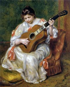 Woman Playing the Guitar by Pierre-Auguste Renoir