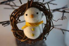 Needle felted snowman wreath Christmas ornament by HoneyCanada, $9.00