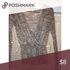 Gray Wrap Long Sleeve Deep Cut Shirt Only used a couple times. Tops Blouses