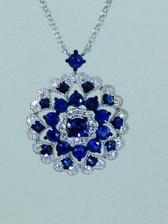 Sapphire & Diamond necklace in 18k white gold.
