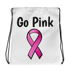 PINK RIBBON BREAST CANCER AWARENESS DRAWSTRING NYLON BACK PACK