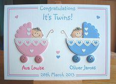 Congratulations twins, new baby card, new twins card, personalised card, handmade card, congratulations card,  keepsake card, greeting card by CreativeCardsByKaz on Etsy https://www.etsy.com/listing/186831296/congratulations-twins-new-baby-card-new