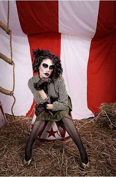 Circus Nightmare Photography - I'm interested in what she is sitting on.  Find a tin bucket and paint it
