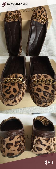 J. Crew Collection cheetah-print driving moccasins Comfy chic J. Crew driving moccasins in honey colored cheetah print hair calf. Trimmed in dark brown leather with 5 rows of top stitching. Vamp is enhanced by a burnished gold chain. In excellent condition both toes and heels and inside is clean. Size 8. Includes box. A lot of easy style for not much money! J. Crew Shoes Moccasins