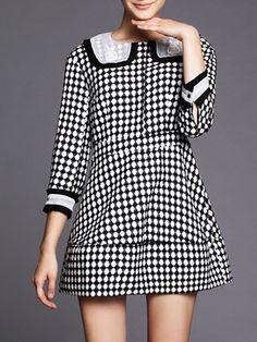 #AdoreWe #StyleWe AOFULI Black Houndstooth Embroidered Casual Polyester Mini Dress - AdoreWe.com