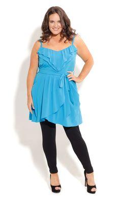 City Chic WATERFALL RUFFLE TUNIC -Women's Plus Size Fashion