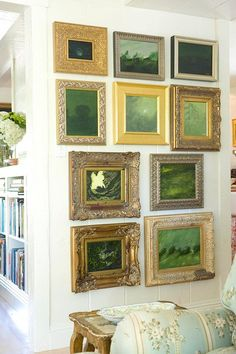 A wall of mysterious green landscape paintings by Philip are displayed in fantastic ornate frames. Images Murales, Deco Nature, Painting Gallery, Art Gallery, Hanging Art, Landscape Paintings, Small Paintings, Hanging Paintings, Wall Art Decor