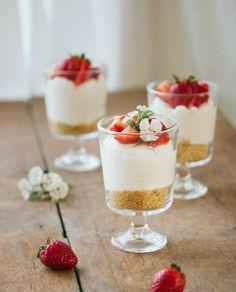 No-Bake Strawberry Cheesecakes.