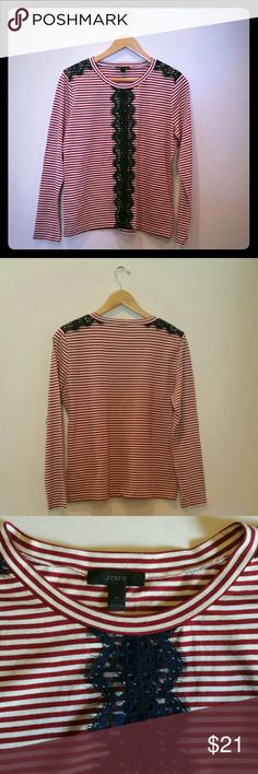 """J. Crew Red and White Striped Top Long sleeve top with lace embellishments on shoulders and down front of shirt.  20"""" bust, 23"""" sleeve,  24"""" length. J. Crew Tops Tees - Long Sleeve"""