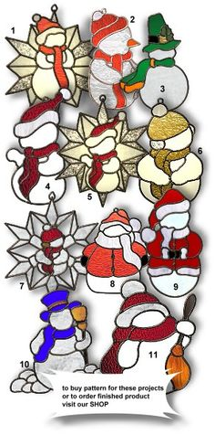 stain glass christmas patterns | stained glass Snowman 10 - pattern has 15 stained glass pieces ...