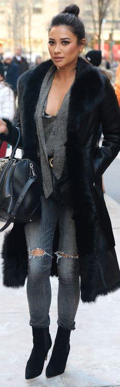 Shay Mitchell-Yeeees fur coat!!