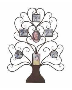 Family Tree Metal Photo Wall Display with Seven Frames - Seven geometric shaped frames add uniqueness to it. Make your pictures more beautiful by displaying them in this unique wall frame. It will capture everyone's attention. Display your family tree with this stylish photo frame.
