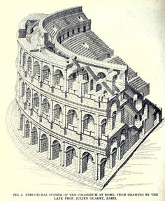 Drawing of the structural system of the colosseum, Rome