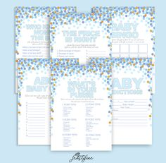 It's a Boy baby shower game card set, baby blue and gold glitter confetti sold by SweetCartoon. Shop more products from SweetCartoon on Storenvy, the home of independent small businesses all over the world.