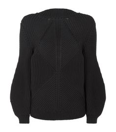 Victoria Beckham Ribbed Knit Bubble Sleeve Sweater | Harrods