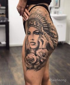 50 Unique And Sexy Hip Tattoo Designs You Must Have - Page 23 of 50 - Chic Hostess - Unique And Sexy Hip Tattoo Designs You Must Have; Hip Thigh Tattoos, Leg Tattoos Women, Sexy Tattoos For Girls, Tattoo Girls, Tattoo Hip, Inca Tattoo, Stomach Tattoos, Chest Tattoo, Indian Women Tattoo
