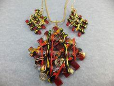 RED GOLD LATTICE * Handmade Dichroic Glass Pendant & Earring Set & Chain by Cheryl Smith