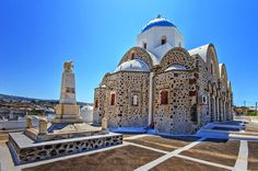 A church that makes a difference in Santorini with its pattern and the combinations of colours .  Vothonas, Santorini (1360266577).jpg
