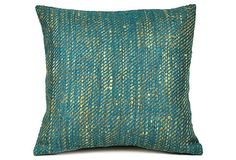 Silk Block Cushion Cover, Turquoise on OneKingsLane.com