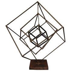 Very unique piece by American metal sculptor, Frank Cota. Three free-form iron cubes on a signed base. The two smaller cubes hang by a chain and can rotate. Classic Brutalist piece with a rough finish on the iron. Geometric Sculpture, Abstract Sculpture, Geometric Art, Brass Bar Stools, French Style Sofa, Lampe 3d, Norwegian Wood, Interior Design Elements, Body Adornment