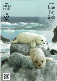 King Cole Luxe Fur & Pricewise DK Knitting Pattern for Knitted Seals Family Fun Craft - I Crochet World Teddy Bear Knitting Pattern, Double Knitting Patterns, Knit Patterns, Crochet Pattern, Baby Seal, Knitted Animals, Yarn Animals, King Cole, Loom Knitting