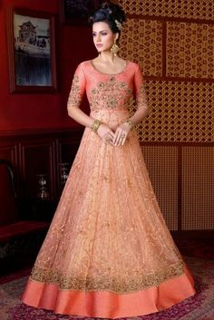 Peach Net Wedding Anarkali Suit With Resham Work. Designer Anarkali, Bollywood Designer Sarees, Designer Gowns, Indian Designer Wear, Robe Anarkali, Costumes Anarkali, Anarkali Suits, Lehenga Choli, Bridal Lehenga