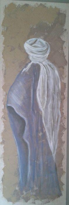 Touareg. Peinture sur toile brut 150 x 50 cm