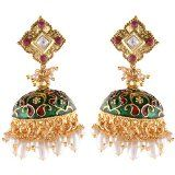 go classy with these authentic as possible meena jhumkas!