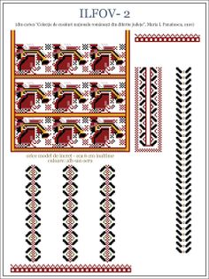 Semne Cusute: MUNTENIA - model de ie din Ilfov Folk Embroidery, Embroidery Patterns, Cross Stitch Patterns, Hama Beads, Beading Patterns, Pixel Art, Folk Art, Alphabet, Projects To Try