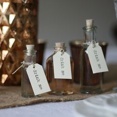 Mini Glass Bottles With Cork Stopper - wedding centrepiece rustic on tree slice