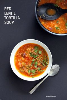 One of my favorite soup recipes. Add a 15-oz. can of black beans. Top with tortilla chips. Vegan Richa