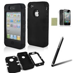 Amazon.com: iphone 4 case, iphone 4s case, SQdeal® 3in1 Rubber + Plastic High Impact Hybrid Hard Case Protective Cover for iphone 4 4s, with Accessies - Touch Stylus Pen and Front/Back Screen Protector,etc (Classic Black): Cell Phones & Accessories