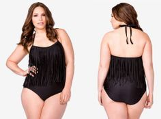 Black Fringe Swimsuit