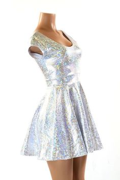 Silver & White Shattered Glass Holographic Scoop Neck Cap Sleeve Fit and Flare Skater Skate Dress
