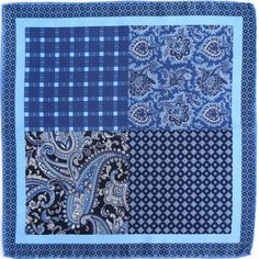 The Problem Solver - This is an exclusive design at Fourway Pocket Squares. This pocket square gives you the options of paisley, check and geometric designs with an intricate border. Colours of navy, blue, black and white work across any suit from navy, black, grey to tan, making it a solution to all outfits.