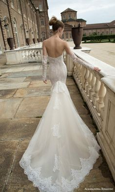 alessandra rinaudo bridal 2016 trudy strapless sweetheart sheath trumpet wedidng dress beaded lace detached illusion sleeves gloves back view train