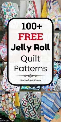 Free Jelly Roll Quilt Patterns & Tutorials Free Quilt Patterns for Jelly Roll Quilts. Free Jelly Roll quilt patterns, sewing tutorials, and diy projects. Many simple designs easy enough for beginners to sew. Great for use with jelly roll fabric strips. Jelly Rolls, Jelly Roll Quilt Patterns, Quilt Block Patterns, Jelly Roll Quilting, Quilt Blocks, Quilting For Beginners, Sewing Projects For Beginners, Diy Projects, Sewing Patterns Free
