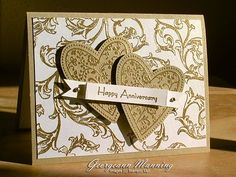 Nice card for an anniversary card Scrapbooking, Scrapbook Cards, 50th Anniversary Cards, Golden Anniversary, Wedding Shower Cards, Wedding Cards Handmade, Engagement Cards, Paper Cards, Cards Diy