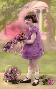 Tinted Vintage Postcards young flower girl inpurple dress