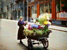1920's flower vendor in Paris, France