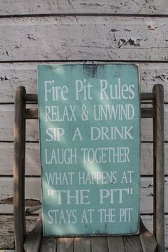 Fire pit/campfire rules typography word art sign is perfect to hang in the backyard near the family fire pit. This beautiful outdoor decor gives that personal touch to your home with custom phrasing and wording options. Find this personalized sign and other rustic shabby chic aged weathered decor at: https://www.etsy.com/listing/235356022/fire-pit-rules-campfire-rules-backyard